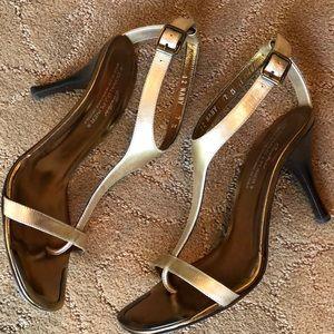 Donald J Pliner Couture Gold T Strap Sandal